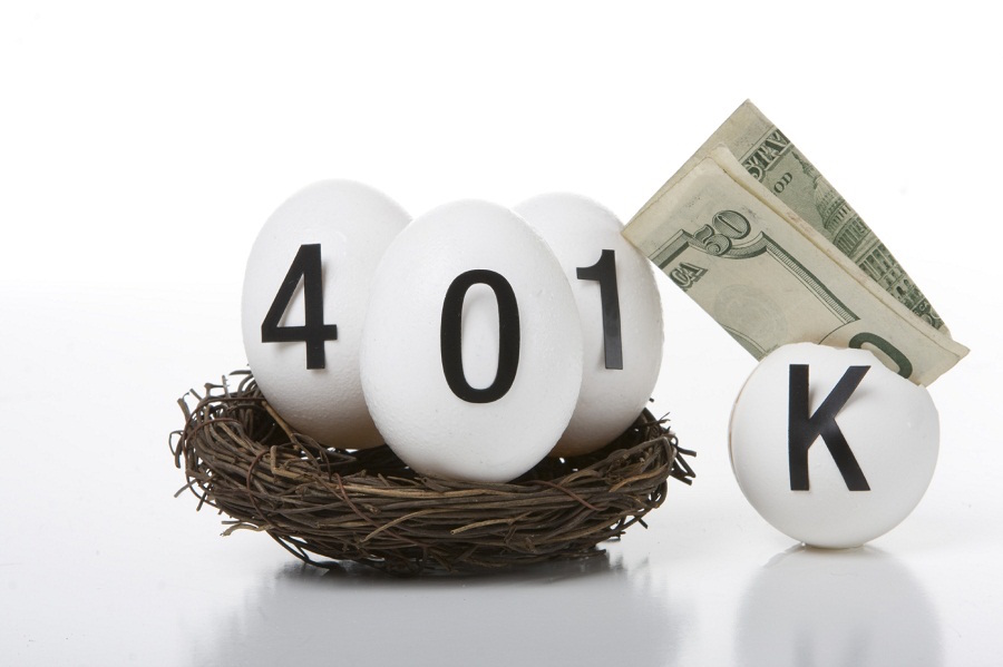401k eggs in basket with folded money